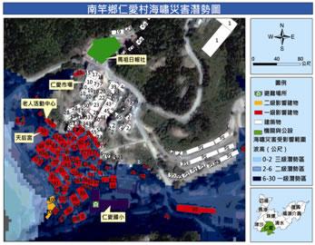 仁愛村海嘯災害潛勢地圖
