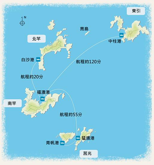 福建省內連江縣─馬祖列島─台灣本島距離圖